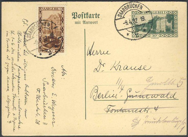 Germany, Saar, Saargebiet 1926/31, 30 C.-GA-Doppelkarte mit Beifrankatur (10 C.) von Saarbrücken nach Berlin gelaufen (Mi.-Nr.P 26). Price Estimate (8/2016): 25 EUR.