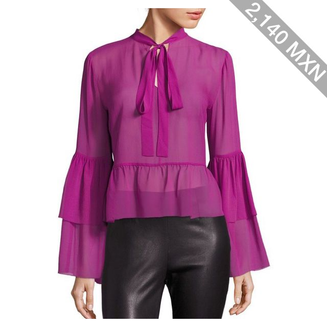 Saks Fifth Avenue Collection Silk Bell Sleeve Blouse