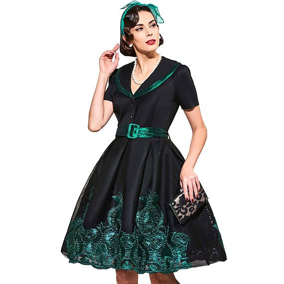 vintage dresses 1950s style black print floral short sleeve women party dress 2017 spring elegant female vintage dresses