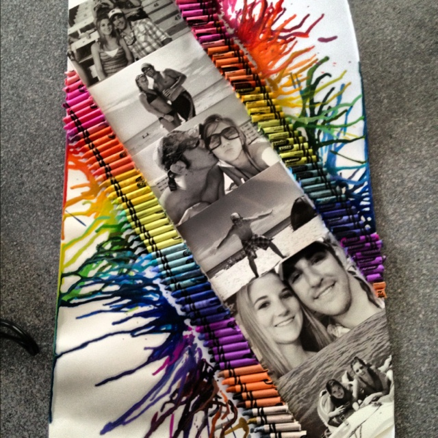 Melted crayons with black and white photos!