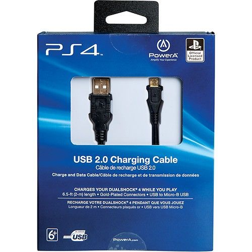 Sony - 6.5' USB 2.0 Charging Cable for PS4 - Larger Front