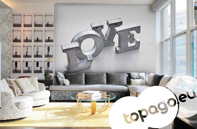 Fototapety czarno białe - metalowy napis LOVE