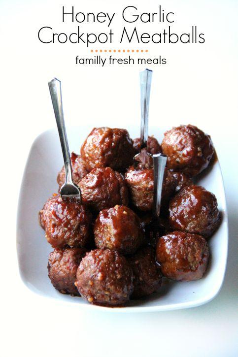30 Easy Crockpot Recipes - Honey Garlic Crockpot Meatballs - FamilyFreshMeals.com