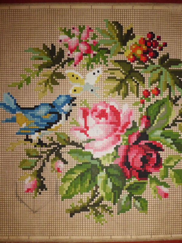 Bird With Roses wool work chart