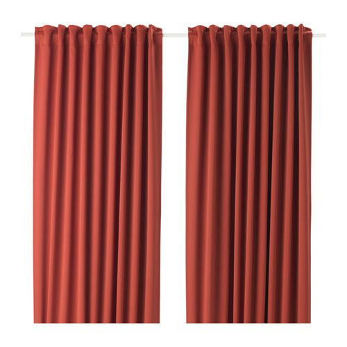 IKEA MAJGULL Block-out curtains, 1 pair Orange 145x250 cm The blackout curtains have a special coating that blocks light from shining through.
