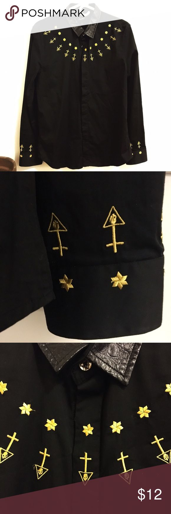 Black button up hold threaded shirt Spooky black button up shirt with faux leather collar and gold threaded details of stars, arrows, crosses, and sculls. Perfect to wear to work or tucked into a pencil skirt. #sigil #occult #witchy #symbol #goth #grunge #eccentric #gypsy #longsleeves #office Tops Button Down Shirts