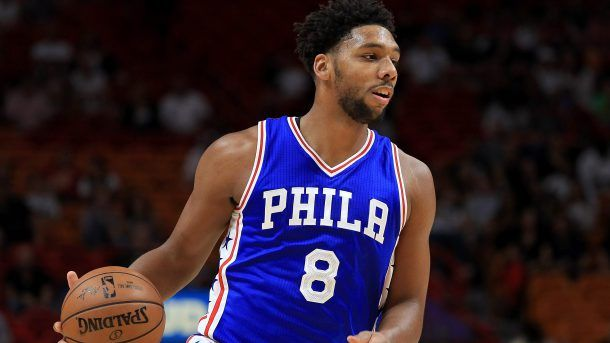 #NBA MIAMI, FL - OCTOBER 21: Jahlil Okafor #8 of the Philadelphia 76ers looks to pass during a preseason game against the Miami Heat at American Airlines Arena on October 21, 2016 in Miami, Florida.  (Photo by Mike Ehrmann/Getty Images)