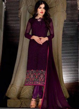 Purple Embroidery Work Georgette Chiffon Silk Designer Fancy Churidar Suit http://www.angelnx.com/Salwar-Kameez/Churidar-Suits
