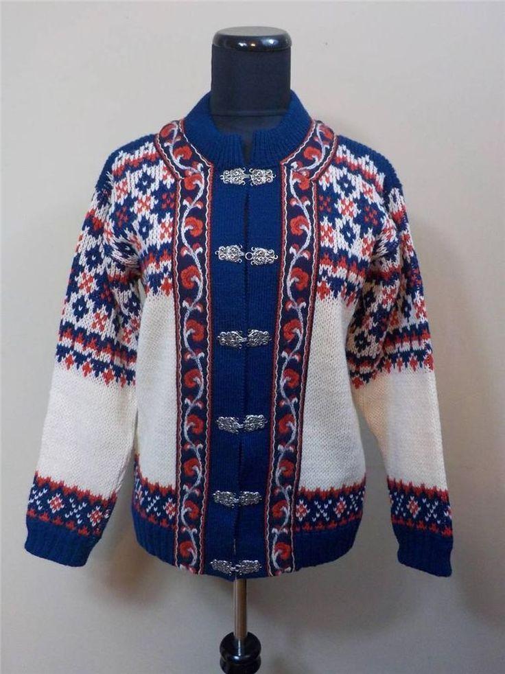 FJORD Fashion NORDIC wool w/ PEWTER CLASPS cardigan SWEATER Womens 40 / S - M #FjordFashion #Cardigan