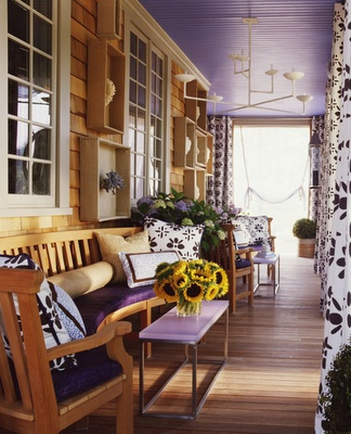 awesome porch love the purple ceiling