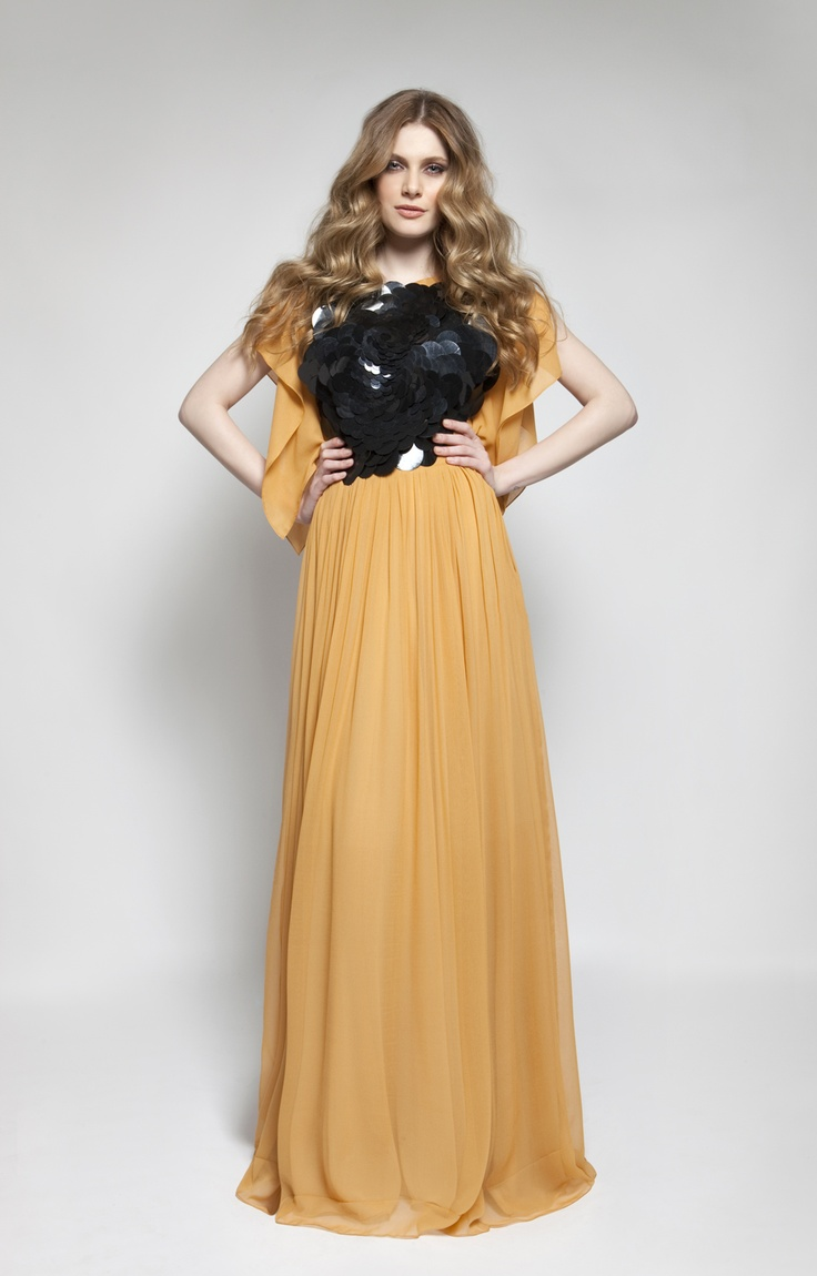 CHRISTOS COSTARELLOS AW 12-13 Silk Chiffon Maxi Dress With Oversized Sequins.