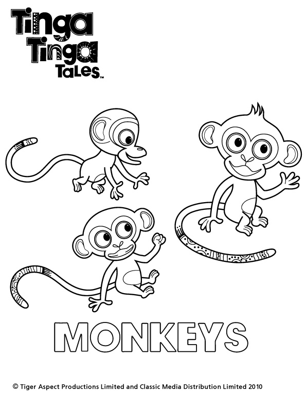 Tinga Tinga Tales Black and white picture of Monkeys