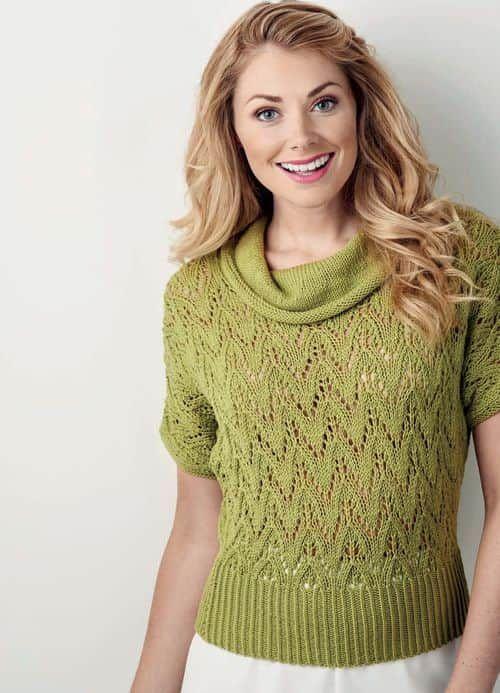 Ажурный узор спицами для пуловера