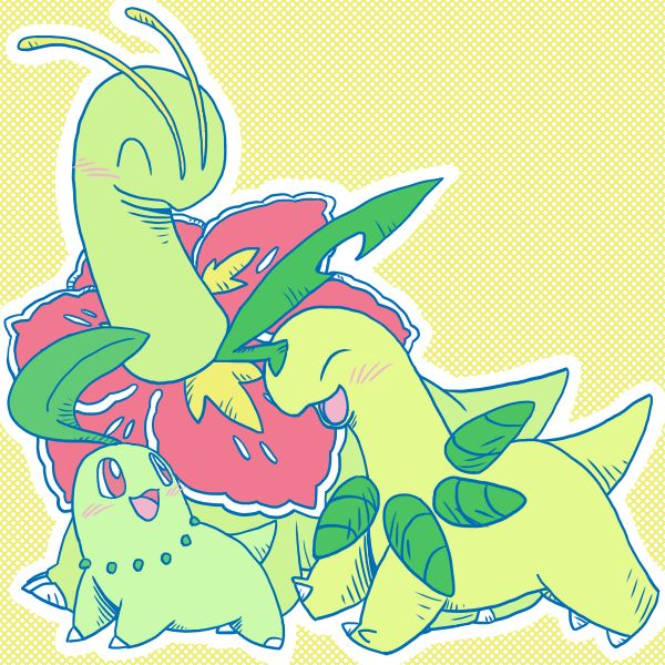 Chikorita, Bayleef, and Meganium--> I couldn't decide which one was my fav grass type pokemon. I think Bayleef would win by a slight margin.