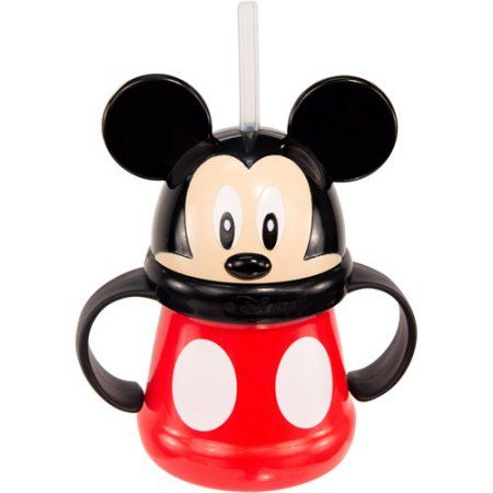 Make mealtime simply ear-resistible. This Mickey Mouse straw cup with handles from Sassy is just right for transitioning your little one from a sippy cup to one with an open lid. Featuring an adorable Mickey Mouse design, complete with ears and his signature buttons, along with easy-to-grip handles and a soft tip straw, this cup makes sipping easy and fun for your little mouse.