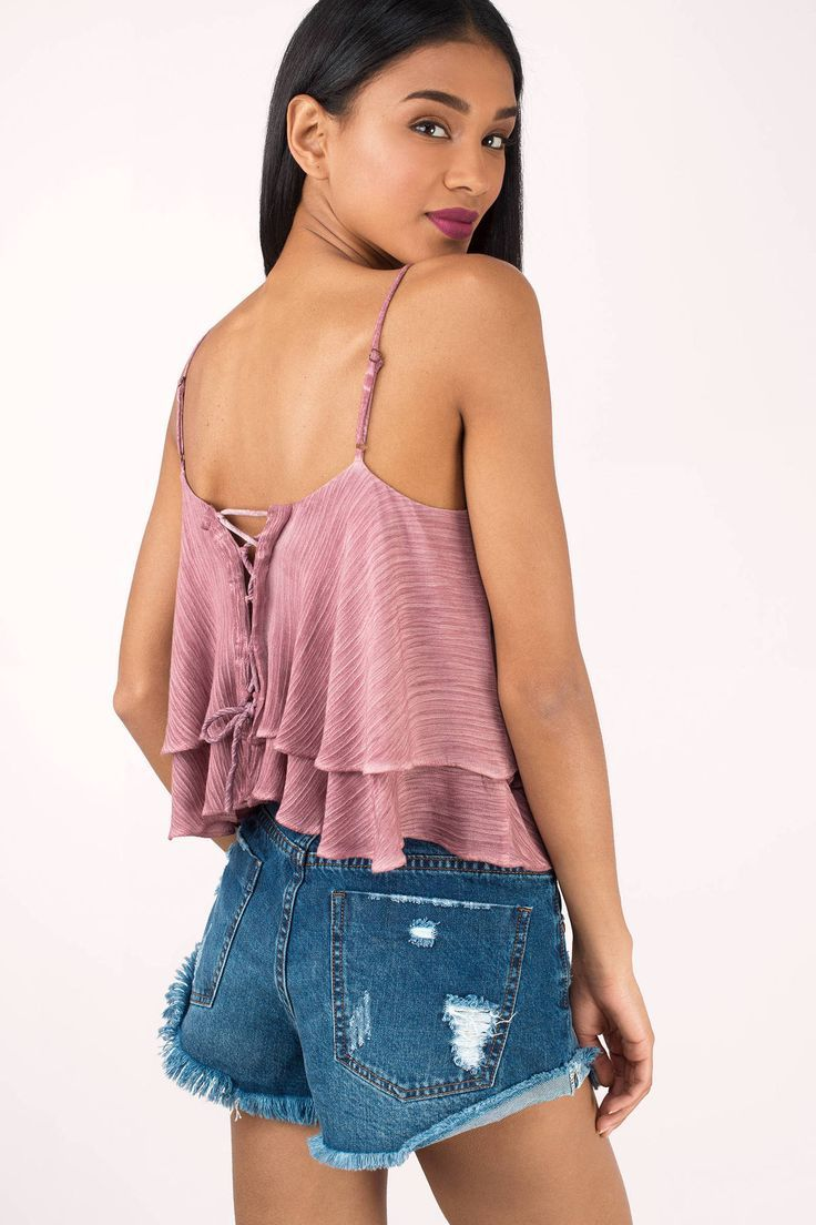 """Search """"Laura Dusty Pink Lace Up Ruffle Top"""" on Tobi.com! cami strapped lace up flouncy flounce tiered loose top cropped crop blouse #ShopTobi #fashion #summer #spring #vacation Basic outfit simple easy chic fashionable stylish style fashion vacation travel essential capsule wardrobe must have casual comfy comfortable trendy spring summer shop buy cheap inexpensive ideas for women teens cute edgy closet fall college outfit outfits"""