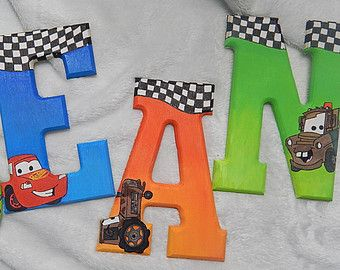 Boys Character Disney Pixar Cars Tow Mater Lightning McQueen Racing Hand Painted Custom Wooden Wood Hanging Wall Art Nursery Name Letters