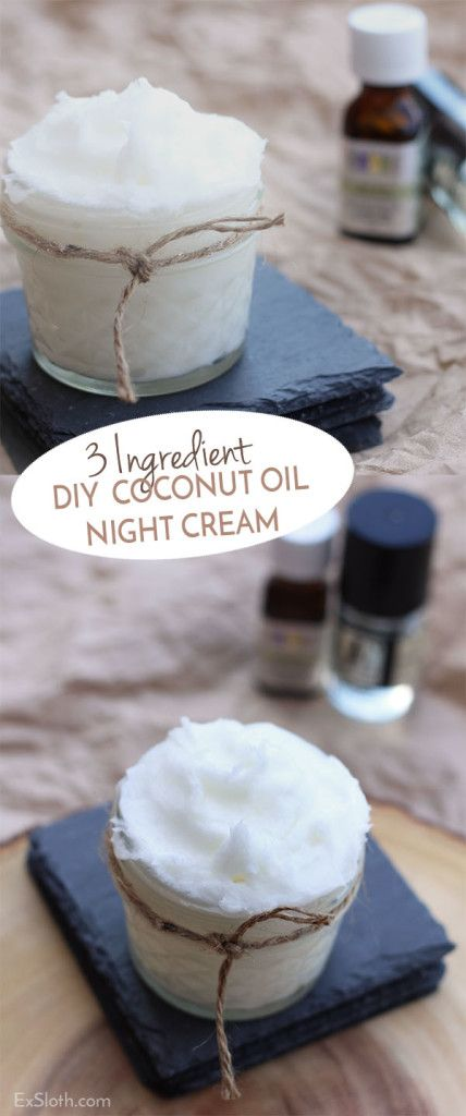 3 ingredient DIY coconut oil night cream via @ExSloth | Exsloth.com