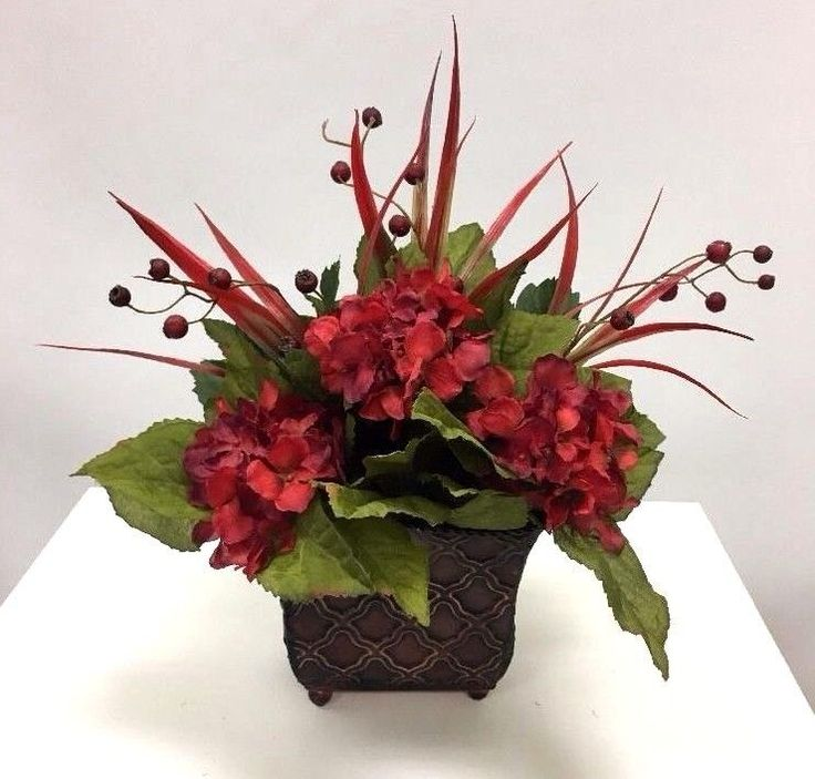 Hydrangea And Berry Bush Red Floral Arrangement  | eBay