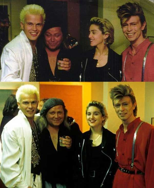 Billy Idol, Sam Kinison, Madonna and David Bowie.