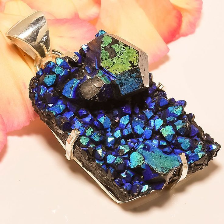 "Titanium Aura Druzy 925 Sterling Silver Jewelry Pendant 2.29"" #Handmade #Pendant"