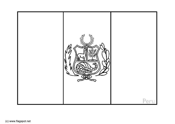 peru flag coloring page: the sides are red, blue behind the lama and red behind the cornicopia