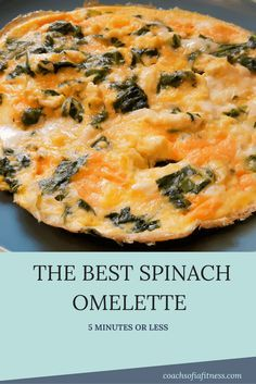This spinach omelette is unlike any other. Plus you can make it in 5 minutes or less. No more excuses not to have a healthy yummy breakfast!