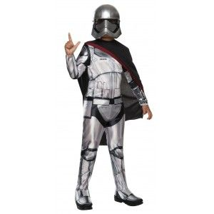 Captain Phasma Star Wars: The Force Awakens Kids Costume Price: $30.00  Kids size economy Captain Phasma costume comes with the printed jumpsuit with shoe covers mask and cape.  Perfect for your favorite Star Wars fan for Halloween or cosplay.  Officially Licensed Star Wars Costume.  #cosplay #costumes #halloween