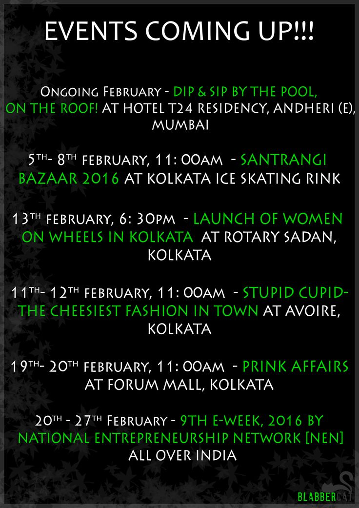 Hope you all had a great new year, and with 2016 BlabberCat is also growing. We are here with our favourite event listing of the month February which has events all over India. So if you are travelling to other states, you can to attend these events. #events #february #list #alloverindia #kolkata #mumbai ‪#exhibition‬ ‪#fashion‬ ‪#blogger‬‬ ‪#food‬ #business #corporate #health #valentine #meow