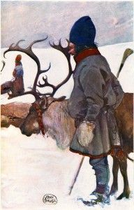 Sami people in Lapland ~ John Bauer painted not only trolls and gnomes. Less well known, but with the same dedication and artist Joy, did Bauer a lovely series of beautiful and evocative illustrations to the monumental splendor. Agency LAPLAND - The Great Swedish Future Land (a depiction in words and pictures of its Nature and People) , published by Bishop O. Bergqvis t and state geologist Fredr. Svenonius 1908th