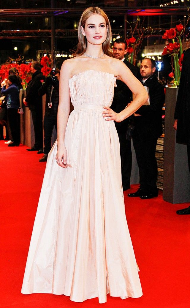 Lily James in a simple strapless gown at the Berlin premiere of 'Cinderella'