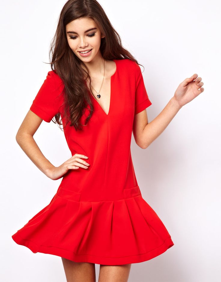 I like this little drop waist red dress!  With the black ankle strap shoes?