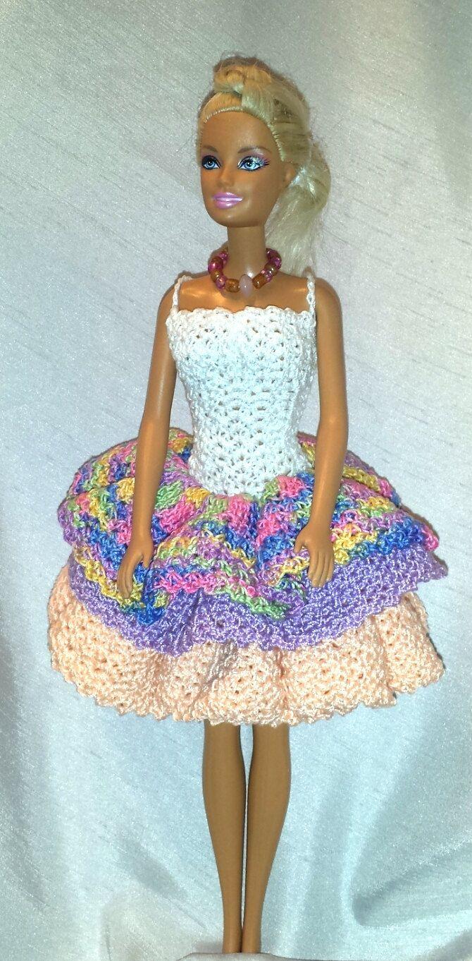 Fashionable Crocheted Barbie Clothes Ruffled Dress Stylish Wardrobe by GrandmasGalleria on Etsy ♡