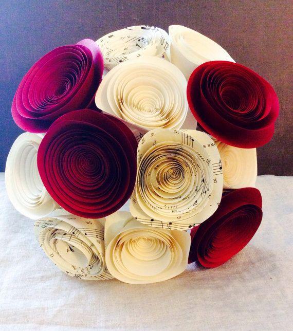 Bouquet Large paper flowers music sheet red by BellaLunasFlowers