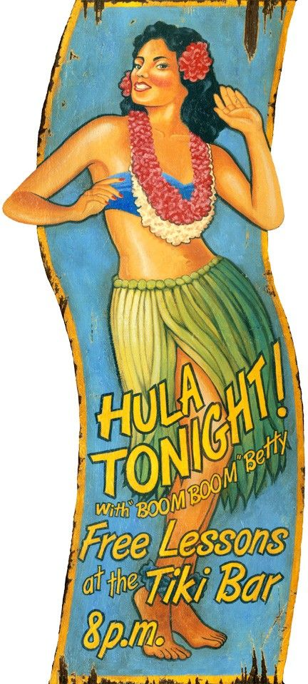 Hula Girl - Vintage Beach Sign: Beach Decor, Coastal Decor, Nautical Decor, Tropical Decor, Luxury Beach Cottage Decor
