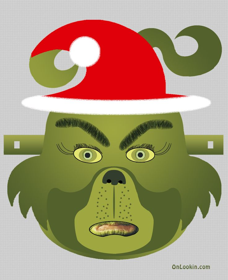 Grinch Santa Face Mask Cut Out A4