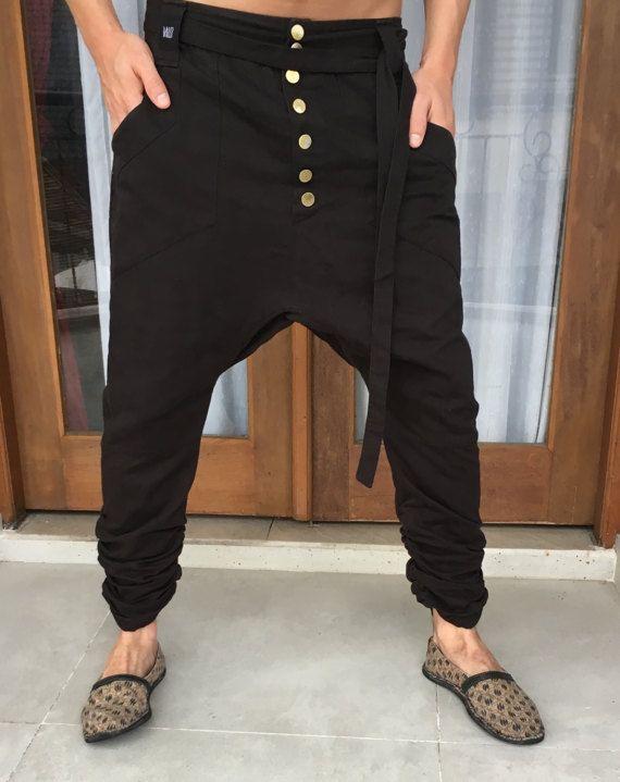 Pantalones de algodón de entrepierna la gota / caer hombres