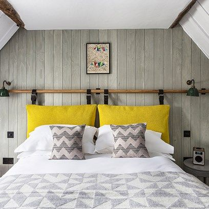 Grey & white bedroom with wood panelling. Cushion HeadboardYellow  HeadboardDiy ...