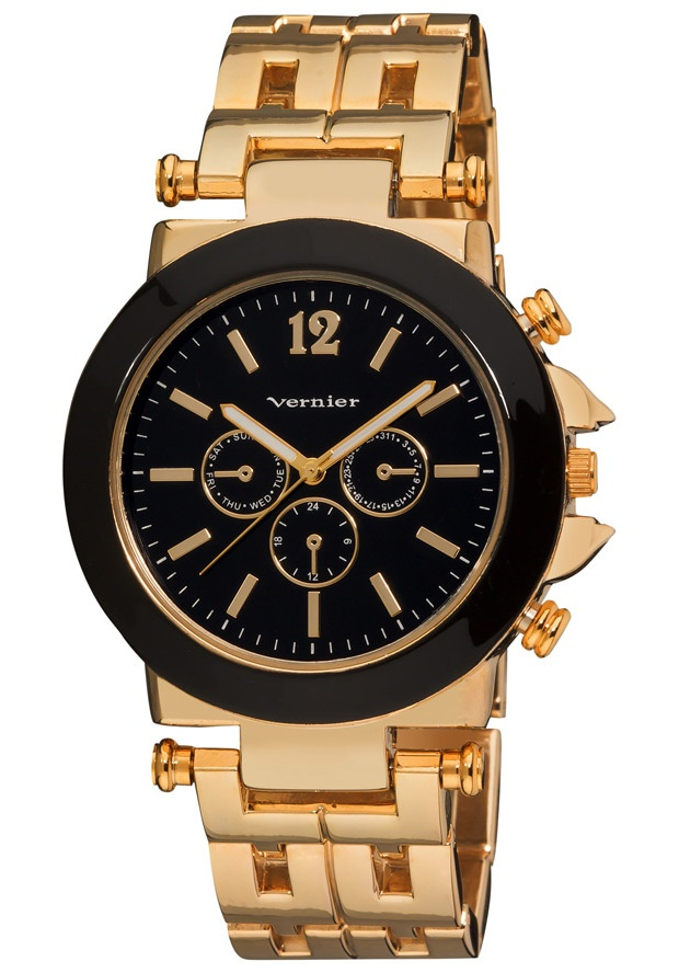 Price:$29.00 #watches Vernier VNR2364-G, This beautiful oversized womens watch has a contrasting black enamel face and dial. The faux chronograph dials and a stunning gold tone geometric pattern link bracelet is must have accessory for any outfit!