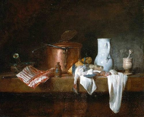 Jean Siméon Chardin,  The Kitchen Table  1755. Museum of Fine Arts, Boston. A nice rhythm of color forms moving through this painting.