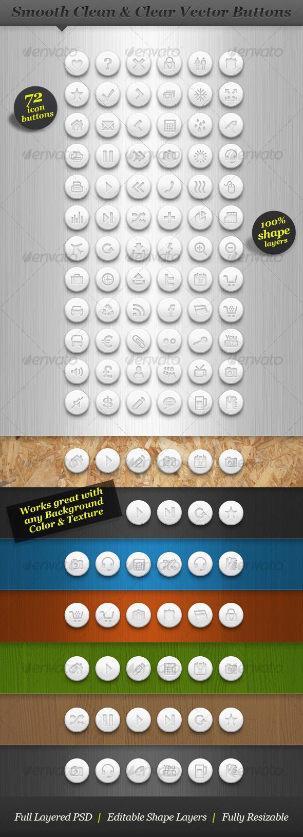 Clean white round icon set vector web buttons - GraphicRiver Item for Sale - $6