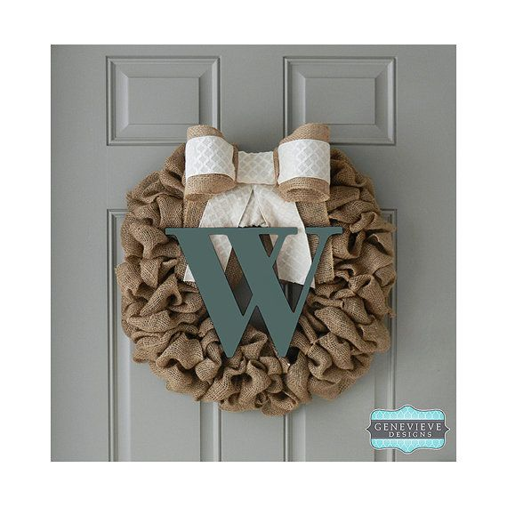 Burlap Initial Wreath -  Hunter Spring Initial - Ivory Diamond - Front Door Wreath, Rustic  Wreath, Hospital Wreath, Baby Wreath