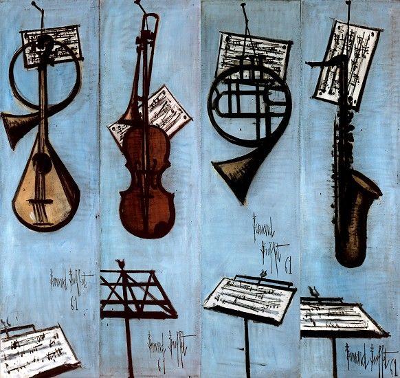Bernard BUFFET ( 1928 - 1999 ) - Peintre Francais - French Painter Les instruments de musique