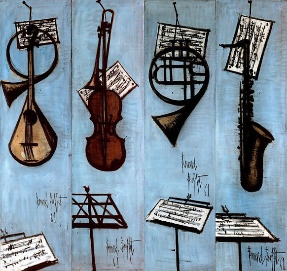 Bernard BUFFET ( 1928 - 1999 ) - Peintre Francais - French Painter Les instruments de musique