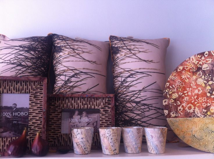 photographic print on cushions and then batik fabric on stool and frame.............................