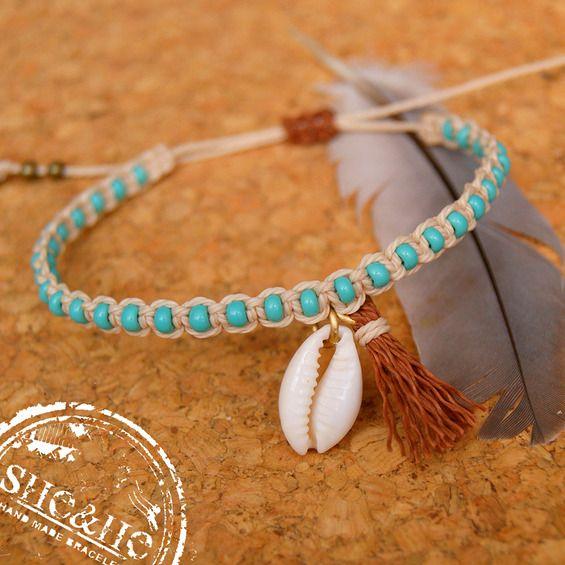 boho style bracelet, boho jewelry, boho bracelet, seashell jewelry