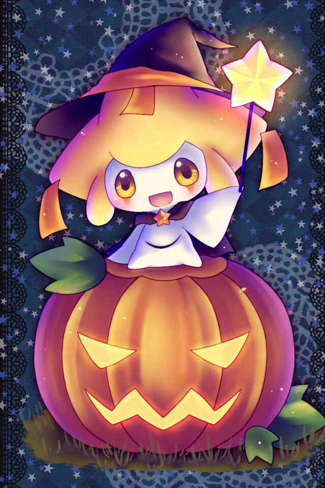 """Jirachi says, """"Halloween is coming everyone!""""  yes the wrong season AGAIN but i love this XD"""