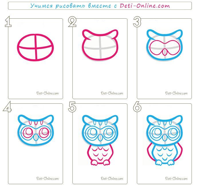 Как нарисовать сову карандашом. Рисуем сову поэтапно
