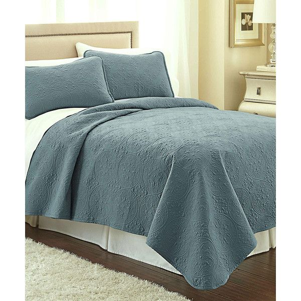 Southshore Fine Linens Teal Vilano® Springs Classic Quilt Set ($39) ❤ liked on Polyvore featuring home, bed & bath, bedding, quilts, teal shams, teal blue bedding, teal bed set, bed linen and twin bed linens