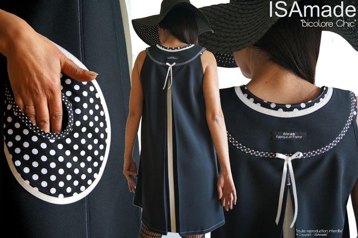 MOD 383B Robe créateur Trapèze chasuble Couture Chic Noir écru à pois mode made in France